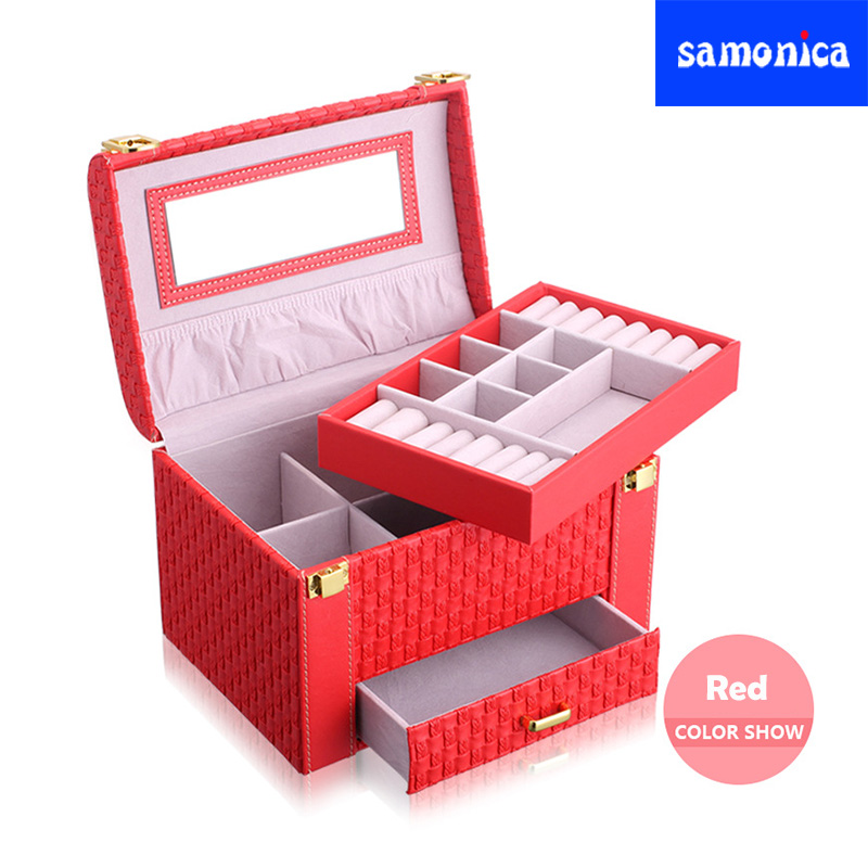 New Large-capacity Red Fashion Portable Jewelry Storage Box Woven Pattern Earrings Ring Necklace Storage BoxNew Large-capacity Red Fashion Portable Jewelry Storage Box Woven Pattern Earrings Ring Necklace Storage Box