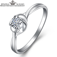 JEWELLWANG 0 8 Carat Effect Diamond Rings 18K Gold Rings For Women Certified Engagement Ring Light