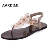New Fashion Flowers Women Sandals Vintage Style Casual Slip On Gold Sliver Flat Sandals Summer Flats