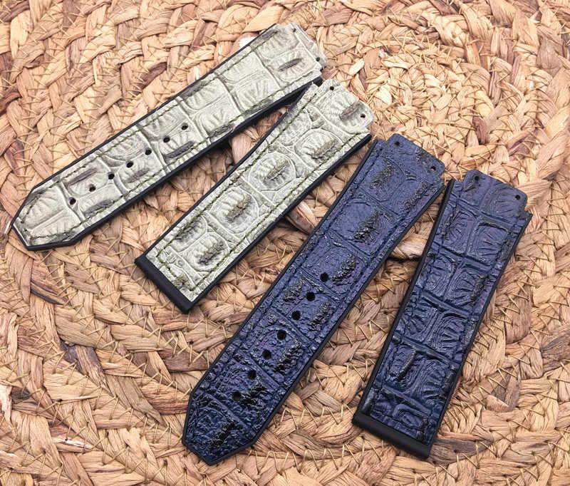 25*19 Mm Buaya Pola Kulit Sapi Karet Gelang Jam Butterfly Gesper untuk Hublot Strap untuk Big Bang Belt band Logo