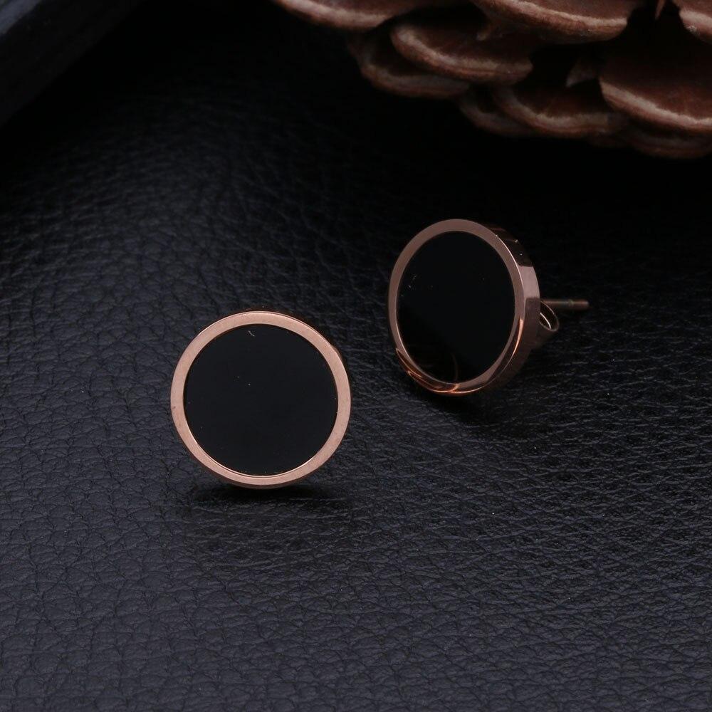 Titanium Stainless Steel Round Stud Earrings For Men Women Rose Gold Button Black Center Earring Stud Gift 8/10/12MM