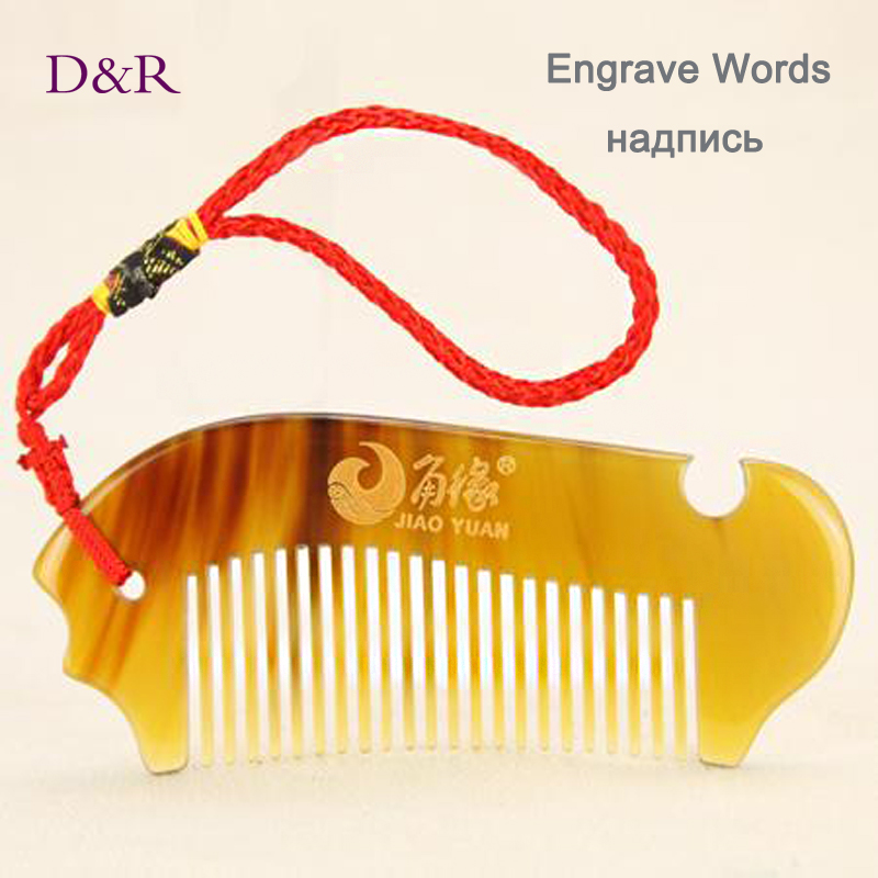 Personalized Pocket OX Sheep Horn Comb Tangle Elite Hair Brush Anti Static Engrave Words font b