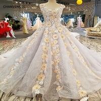 LS00250 Vestido De Festa Tank Appliques See Through Back Lace Ball Gown Flowers Beading Lace Luxury