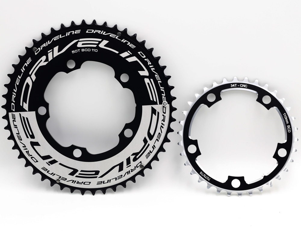 DRIVELINE CNC 50/34 52/36 road bike TT chainring 110BCDDRIVELINE CNC 50/34 52/36 road bike TT chainring 110BCD
