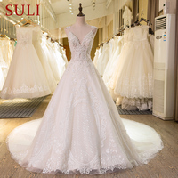 SL-22 Nova Imagem Real Vestidos De Casamento Frisada Lace Pérolas C Vestido de Casamento Nupcial 2017