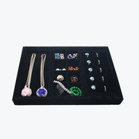 3 in1 Velvet Suede Ring Earrings Organizer Ear Studs Jewelry Display Stand Holder Rack For Necklace Showcase Plate Jewelry Box