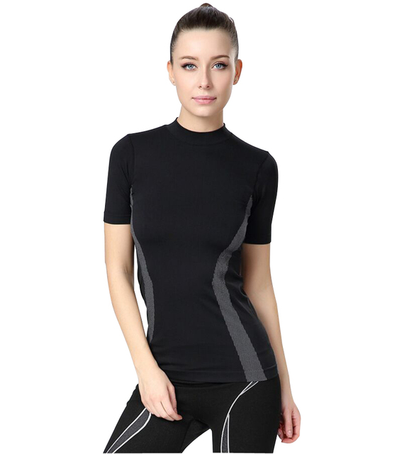 79237e29f Workout Slimming Sports T Shirt Women Compression Sportswear Yoga Tops  Running T-shirt Gym Tights Shirts Fitness Top Jersey Lady