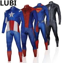 Spider Man Captain America Superman Iron Autumn Cycling Set Jersey Thin  Long Sleeves Bike MTB Kits c55e1c9fe