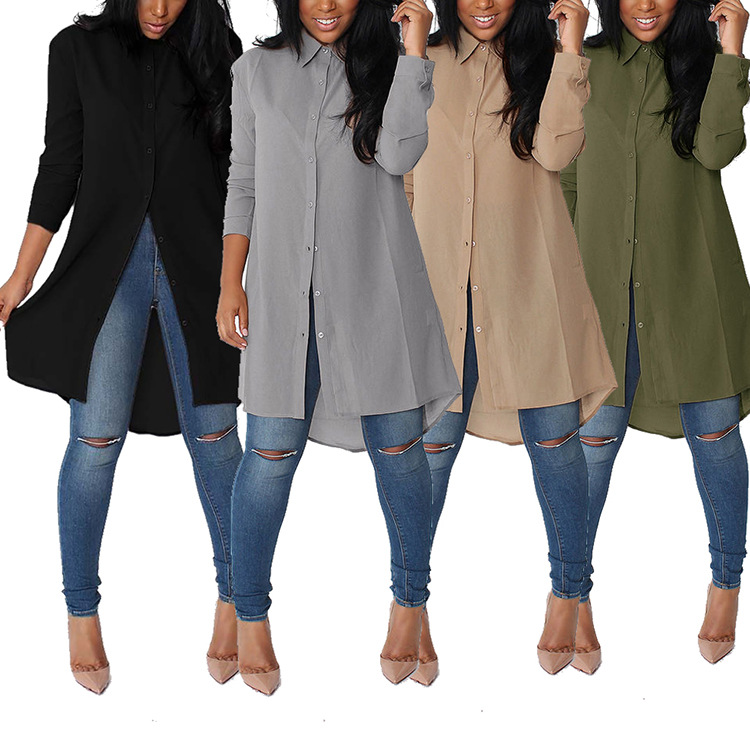 2018 Women Chiffon Tops Spring Summer Lapel Long Blouse Leisure Plus Size Loose Before Long Back Short Irregular Chiffon Shirt