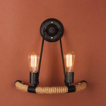 Endüstriyel tarzı Loft amerikan ülke demir Retro kenevir halat duvar lambaları eski endüstriyel aydınlatma kolye ışıkları 110-240v