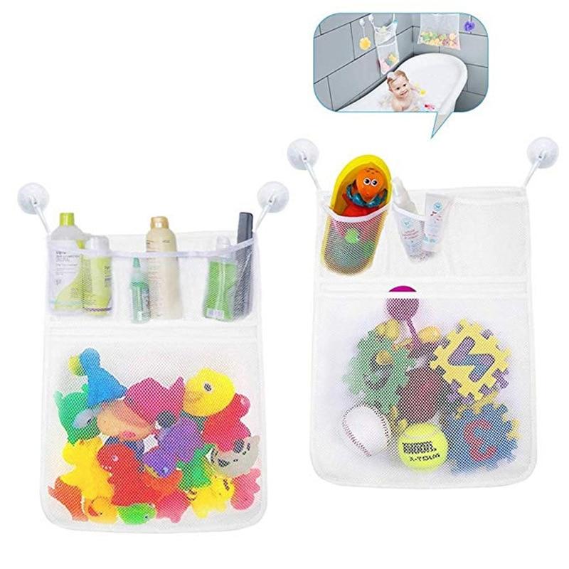 Stuff Bath Suction Bathtub Mesh Storage Bag Bathroom Doll Organizer Toy Baby J