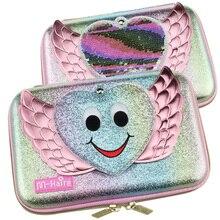 Kawaii boîte à stylos pour filles école, sac à crayons avec miroir, conteneur pour stylo matériel eva, sac de papeterie à paillettes, collection jolie boîte à crayons