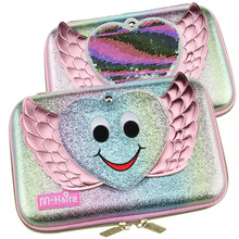 new kawaii Lovely pencil case for girls school pen box mirror pencil bag pen container eva material ribbon sequin stationery bag