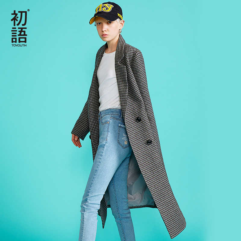Toyouth Womens Wool Plaid Long Coat Loose Plus Size Coat Straight Double Breasted Coats Korean Winter Coat Abrigo Mujer Invierno