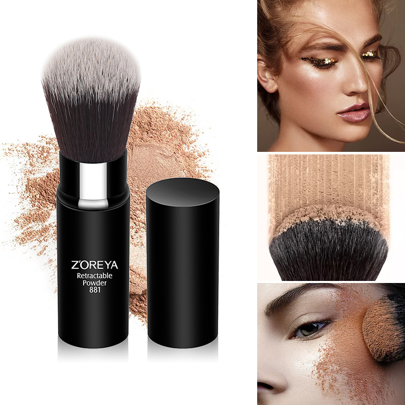 Eyeline-Brush Duo-Fiber Fan-Powder Foundation Makeup-Tools Wooden-Handle Contour Beauty