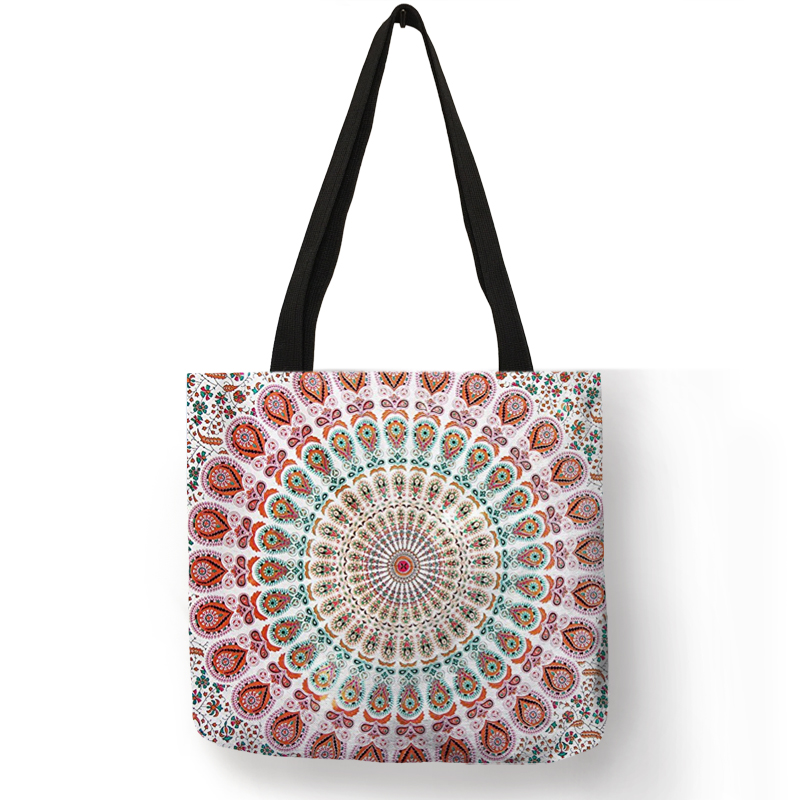 Mandala Flower Fabric Tote Bags For Women Eco Linen Reusable Shopping Bag Folding Floral Print Handbags For Lady Traveling Beach