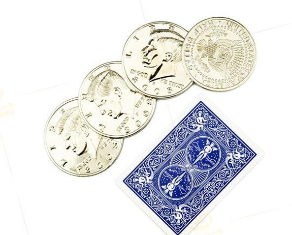 Free shipping! Jumbo Half Dollar Shells 3 + 1 Set - Magic Tricks,Coin&Money magic,stage,close up,comedy,magic toys party magic tricks prop and training set money press