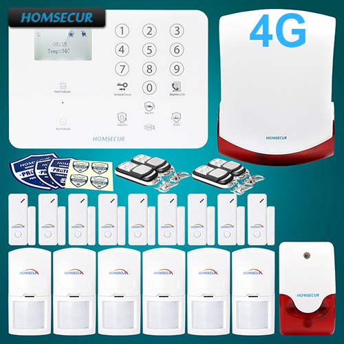 HOMSECUR Wireless 4G GSM LCD Burglar Intruder font b Alarm b font System 6 PIR Door