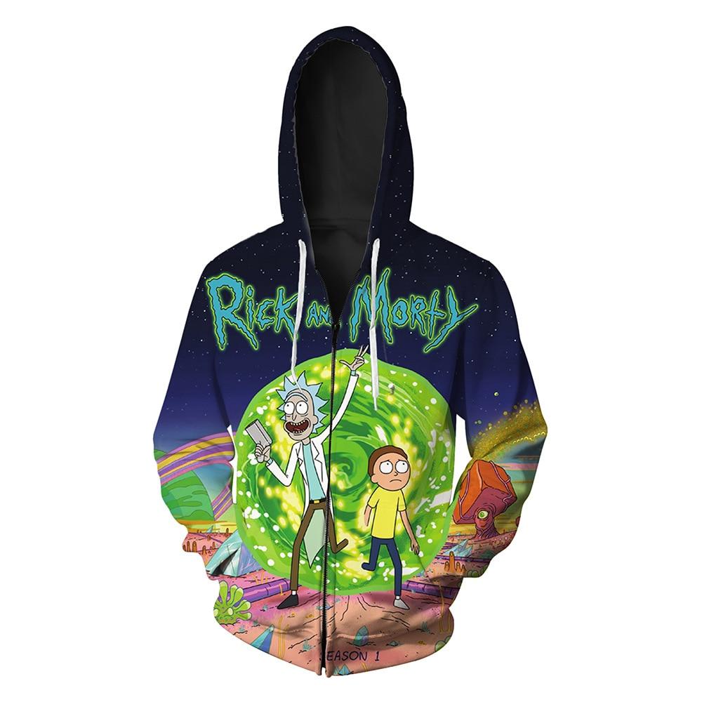Rick And Morty Print Men Women Hoodie Sweat Homme 2017 3D Mens Casual Hoodies Sweatshirts Zipper Harajuku Hip Hop Men Sweatshirt
