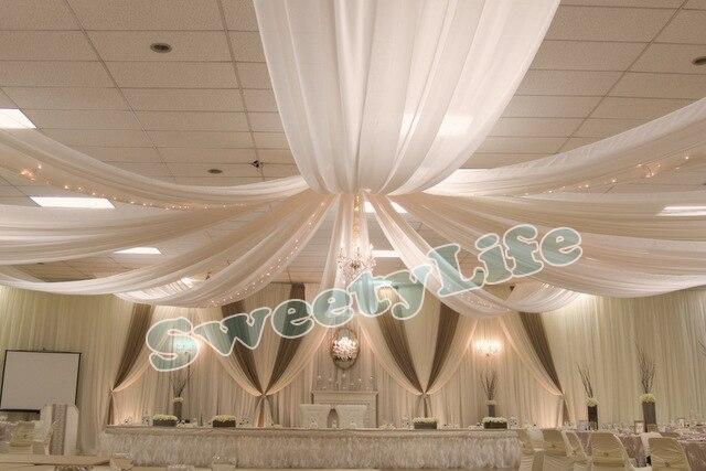 Drape Canopy Drapery casamento 10 peças Do Teto para a decoraç u00e3o do casamento tecido poliéster  -> Decorar Teto Com Tnt