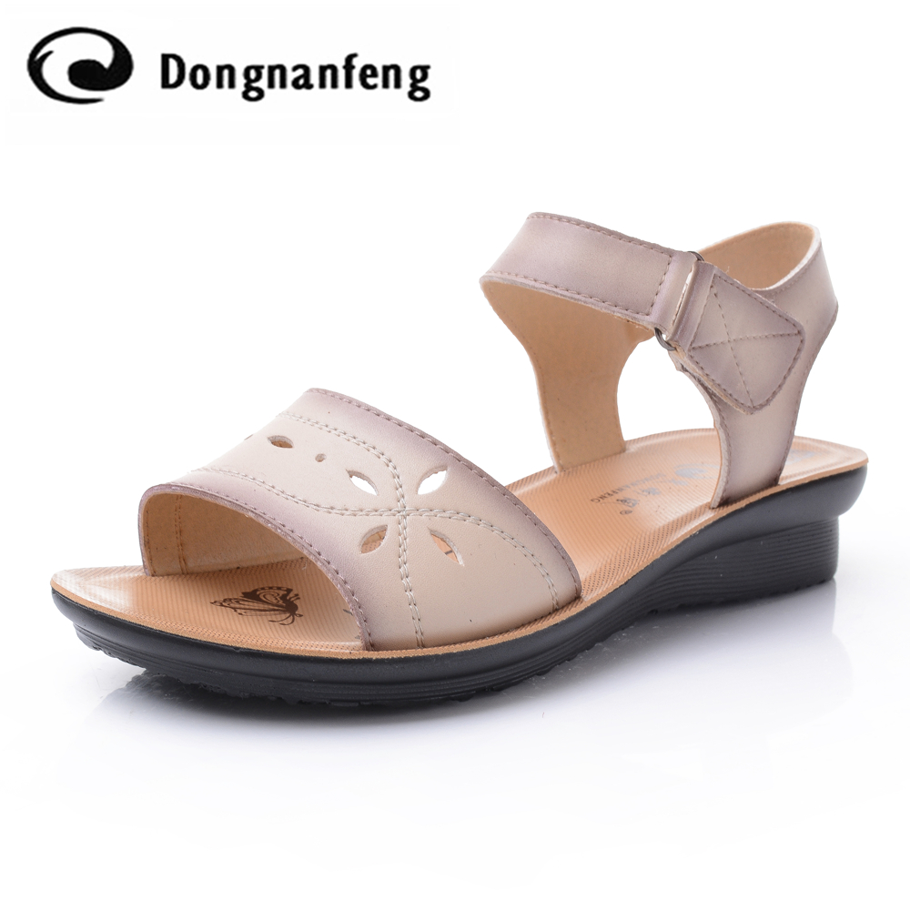 New Fashion Women Girl Female Mother Shoes Flats Sandals Casual Korean Wedges Leather Rubber PU Buckle Strap DNF635 2017 new arrival hot sale fashion summer sweet women flats heel sandals pu leather casual buckle strap shoes for women 13 30