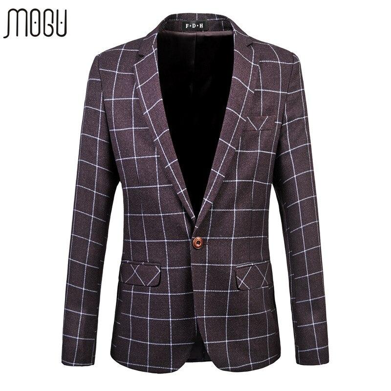 MOGU 2017 Fitted Men Blazers Plus Size 6XL Men Cotton