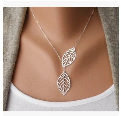Venta al por mayor amor dos hojas colgante collar de cadena para mujeres Bijoux collar joyería Exo Colar 2019 nueva chica One Direction NA607