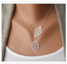 Wholesale Love Two Leaves Pendant Chain Necklace For Women Bijoux Collares Jewelry Exo Colar 2019 new Girl One Direction NA607(China)