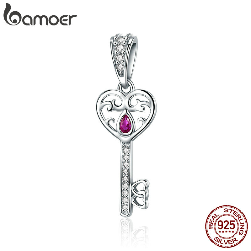 BAMOER 100% 925 Sterling Silver Happiness Key Heart Shape Pendant Charm fit Women Bracelets & Necklaces Jewelry Gift SCC791 недорого
