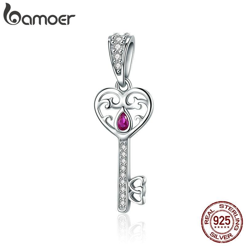 BAMOER 100% 925 Sterling Silver Happiness Key Heart Shape Pendant Charm fit Women Bracelets & Necklaces Jewelry Gift SCC791 characteristic key shape pendant for women