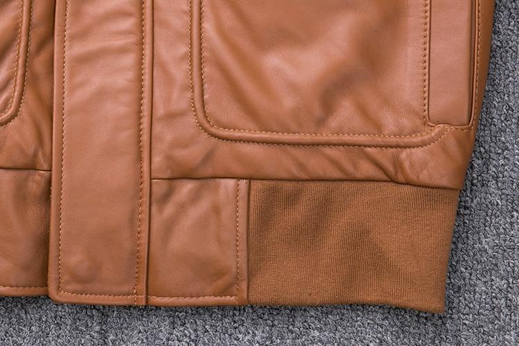 HTB1J2dNXtfvK1RjSszhq6AcGFXau MAPLESTEED Thickening Quilted 100% Sheepskin Leather Jacket Men Air Force G1 Flight Jacket Man Winter Coat Collar Removable M176