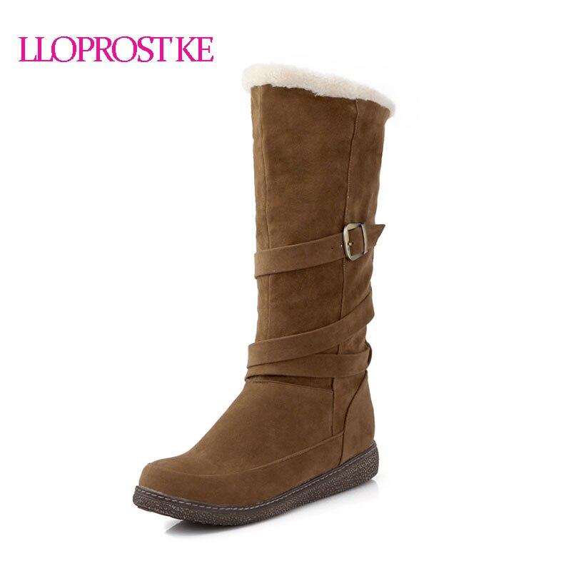 Lloprost Ke Mid-calf Boots Flat Warm Winter Boots Long Plush Suede Women Botas Metal Buckle Low Heel Half Boots Four Color ZZ044 fashionable women s mid calf boots with low heel and double buckle design