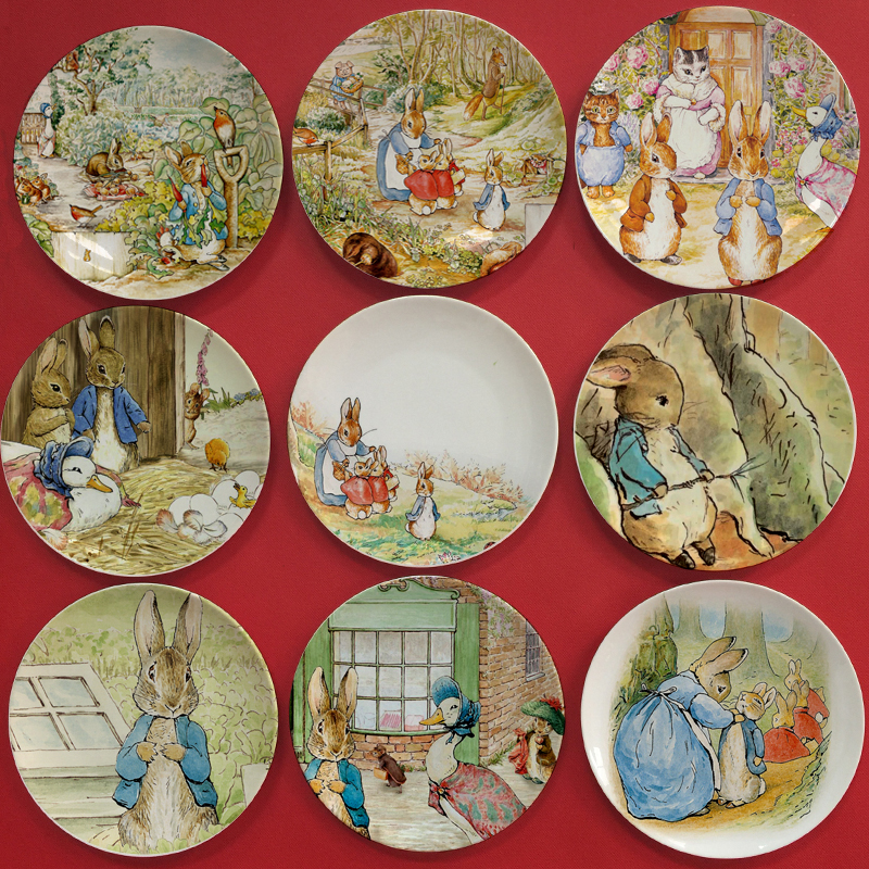British designer Beatrix Potter The Tale of Peter Rabbit illustration painting plate Edible and home decor