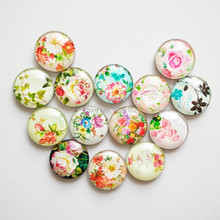 Free shipping (14pcs/lot) Retro flowers Round Crystal Glass fridge magnet Rose message sticker Kitchen home Decoration