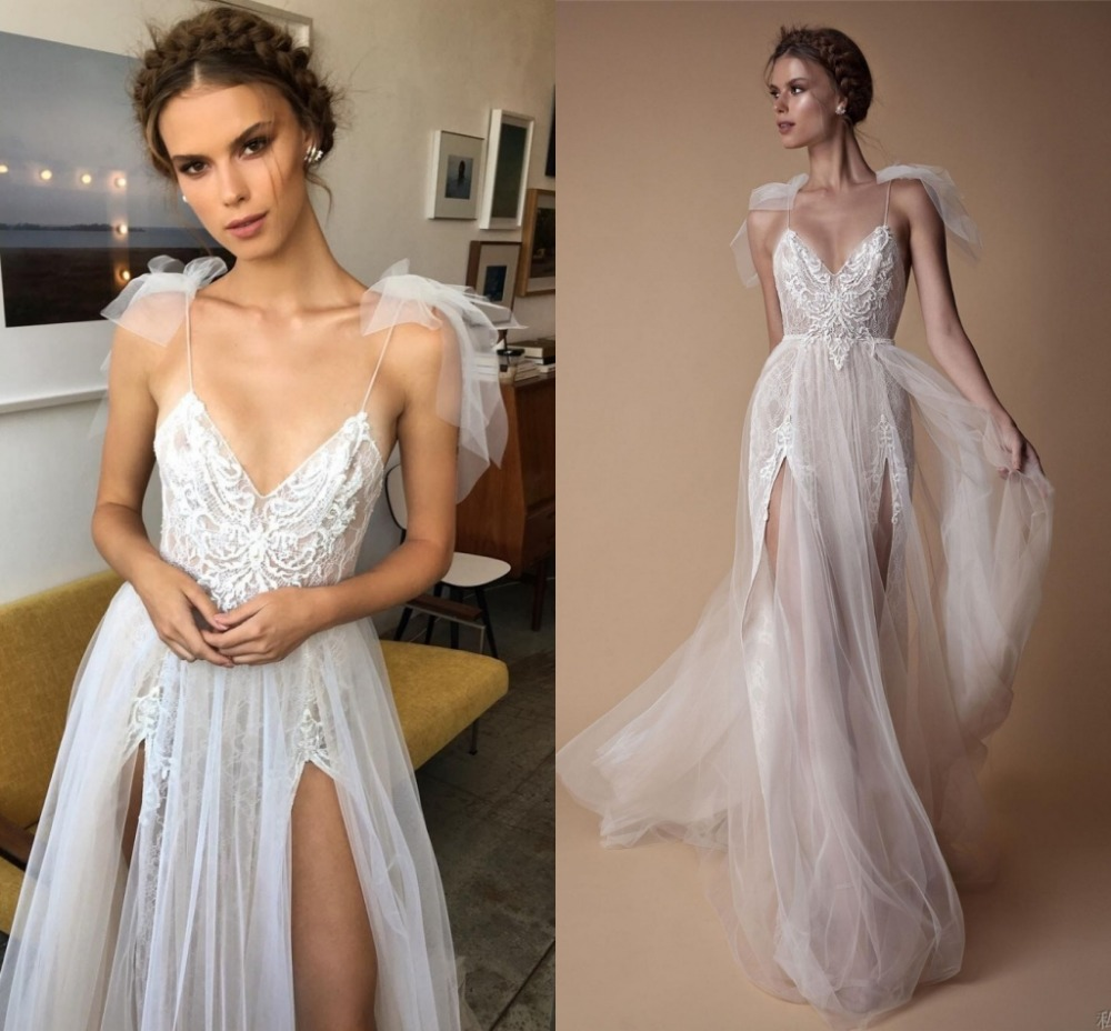 Vestido De Festa High End Wedding Dresses 2019 Chic V neck Straps Beads Split Tulle Bridal