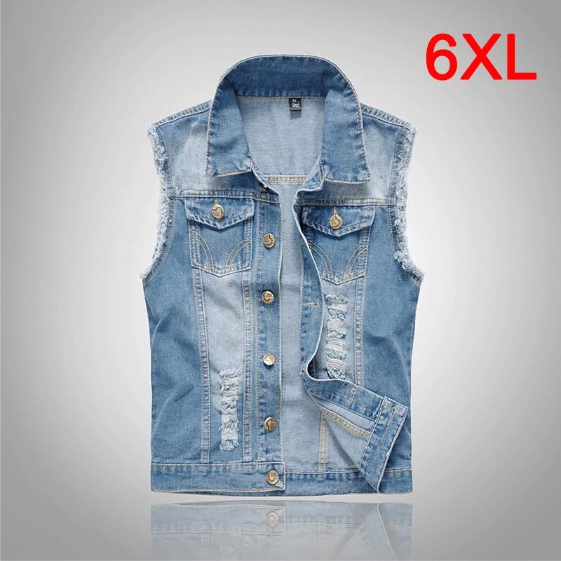 Plus Size 5XL 6XL Denim   Tank     Tops   Men Jeans Vest Hole Ripped Casual Hip Hop Slim Fit   Tank   2018 Streetwear Clothes for Men S041