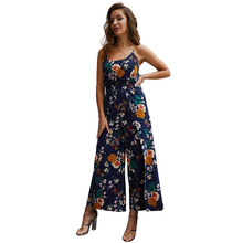2019 women Super Comfy Floral Jumpsuit Fashion Trend Sling Print Loose Piece Trousers N20D