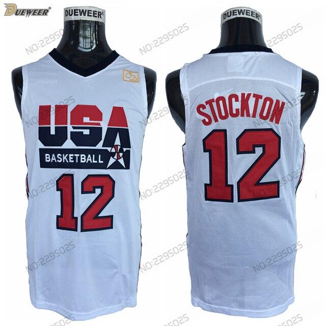 new product dc0c0 435a0 Dueweer Pria Retro 1992 Tim Amerika Serikat Mimpi Satu John Stockton Basket  Jerseys Murah Putih 12 John Stockton Basket Kemeja di Basketball Jerseys ...