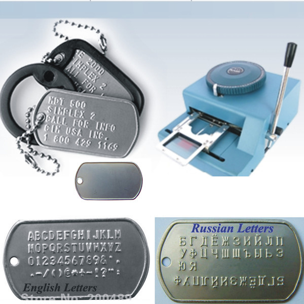 New 80ERD English and Russian characters Manual GI Steel Metal Dog Tag Tags Embosser ID Card