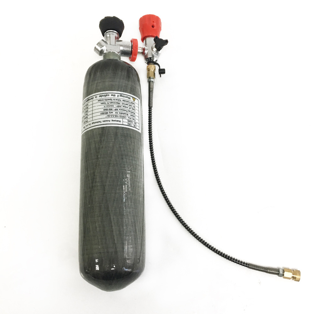 PCP rifle hunting/Paintball tank air refilling kit carbon fiber 3L cylinder 30Mpa with valve and filling station with hose red safety 30mpa valve for composite compressed air cylinder for paintball airsoft gun hunting filling station
