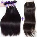 8А Перуанский Прямо Девственные Волосы 3 Пучки с Закрытием Перуанский Девственные Волосы с Закрытием Человеческих волос Пучки С Закрытием