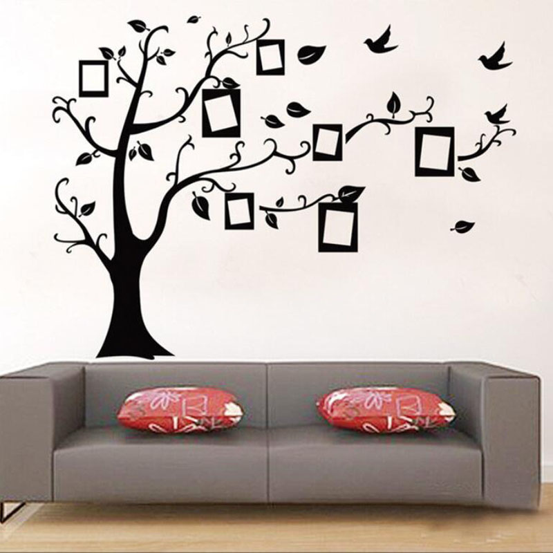 Aliexpress.com : Buy 2017 New 3D DIY Family Tree PVC Wall Sticker For  Living Room Mural Black Poster Vintage Home Decor Photo Fame Tree Art  Decals From ... Part 86