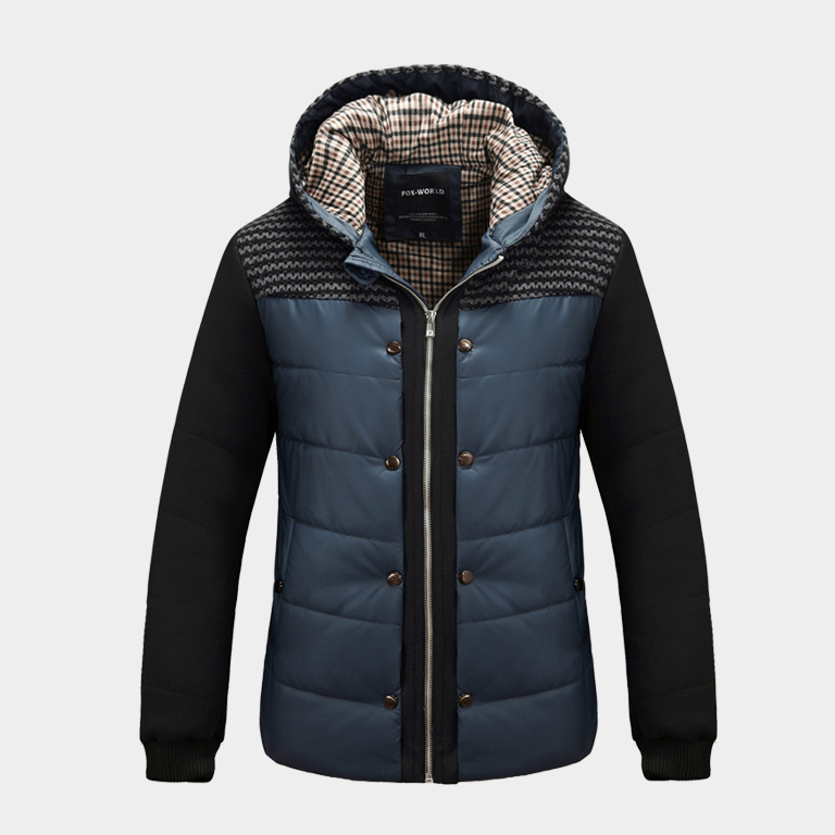Clearance Cheap Quality Jacket With Hood Mens Winter Coats Deep Blue Man Cotton Padded Clothes