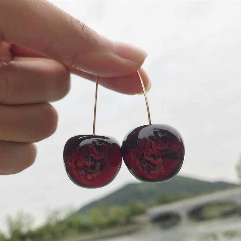 Dominated new 2019 fashion temperament contracted Resin cherry personality long Women Drop earrings joker Jewelry