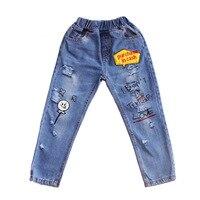 girls denim pants 2019 new fashion spring children trouser cartoon printed ripped jeans for girls skinny hole kids pants 4 13T