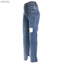 ME&SKI high waist skinny jeans womens mujer Street Ankle Pants plus size for women Ripped Trousers Denim Jeans