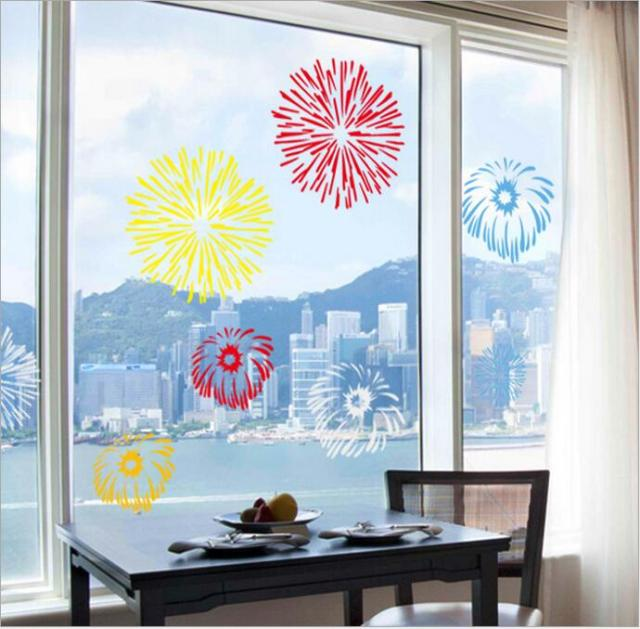 Christmas new year fireworks wall sticker window sticker diy show window art decals waterproof house shopwindow