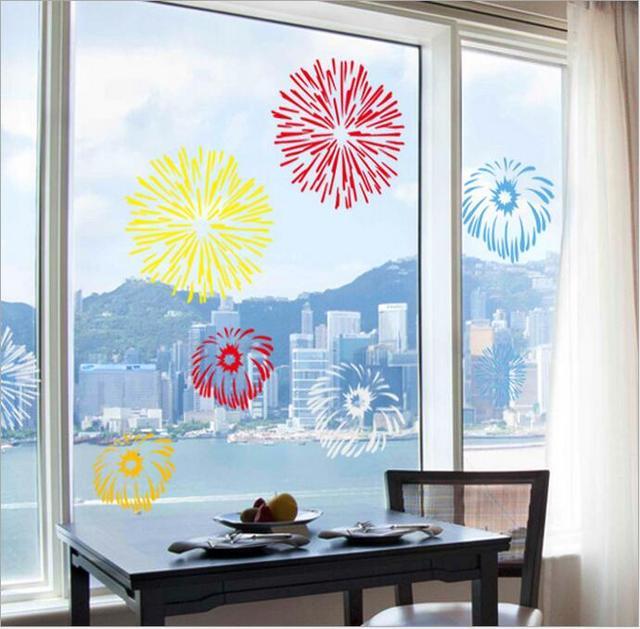 Christmas new year fireworks wall sticker window sticker diy show window art decals waterproof house shopwindow