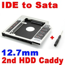 2015 New 2nd HDD 12.7mm Caddy IDE to SATA Hard Disk Drive SSD Aluminum Case Enclosure CD DVD-ROM Optical Bay Adapter for Laptop