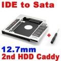 2015 Nueva 12.7mm Caddy IDE a SATA 2do HDD Disco Duro Caso Caja De Aluminio CD DVD-ROM Drive SSD Adaptador de Bahía Óptica para Laptop